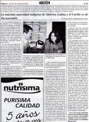 Página 9 y 10 de semanario Acción Informativa de Tacuarembó - Uruguay, Ana María Barbosa Oyanarte entrevistada por Jorge Romero y Miguel Olivera Prietto.